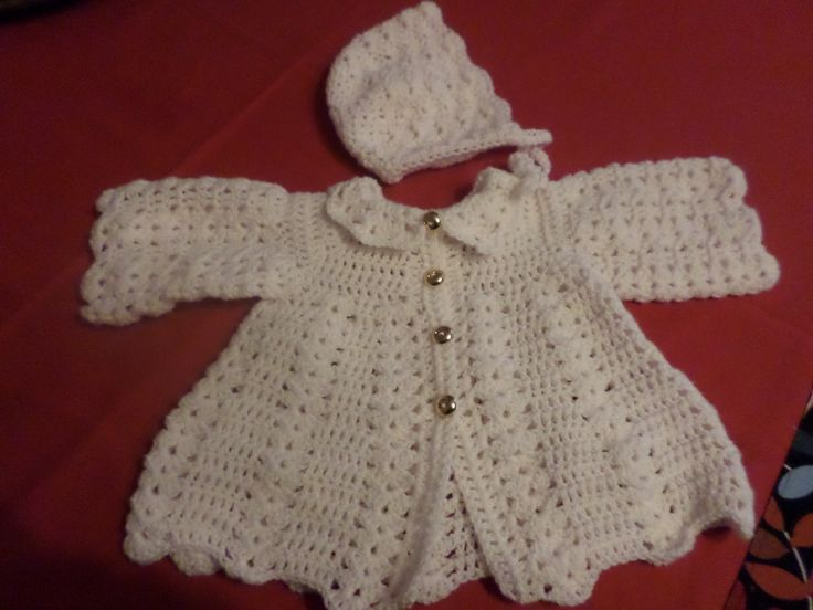 baby cardigan and baby bonnet crochet