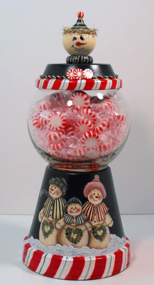 Terra Cotta base decorated as cover for candy jar