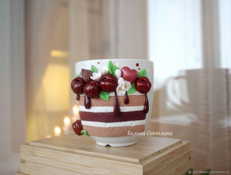 Кружка торт с вишней – купить в интернет-магазине на Ярмарке Мастеров с доставкой