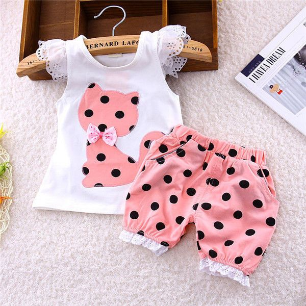 9669e27b066c Cute Baby Girls Kids Summer Tops+Short Pants Polka Dot Outfits ...