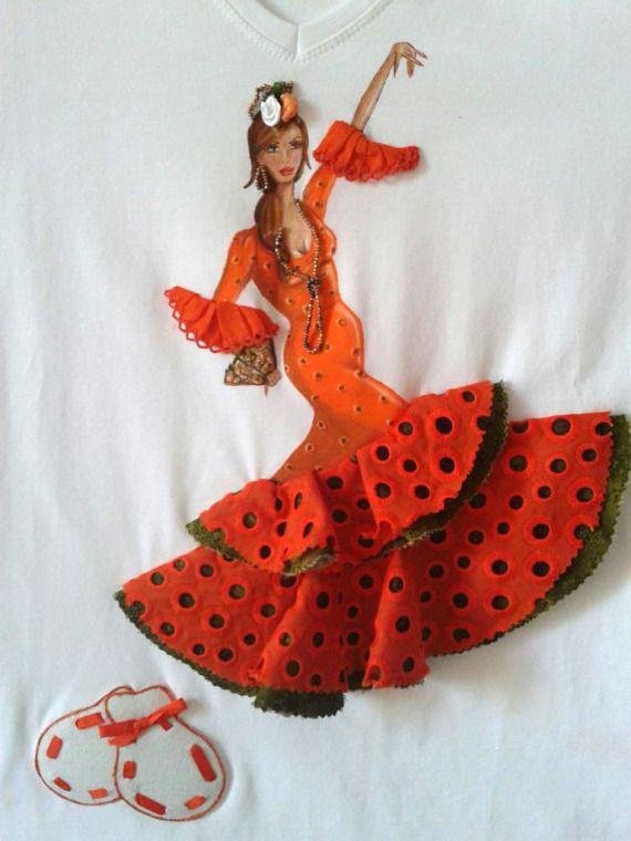 """Camiseta flamenca """"Margarita"""" / Pinceladas Artesanas - Artesanio"""