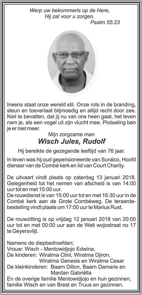 FamilieNieuws Suriname Overleden - Jules Wisch #Suriname #Paramaribo #FamilieNieuws #OverledenSuriname #beri