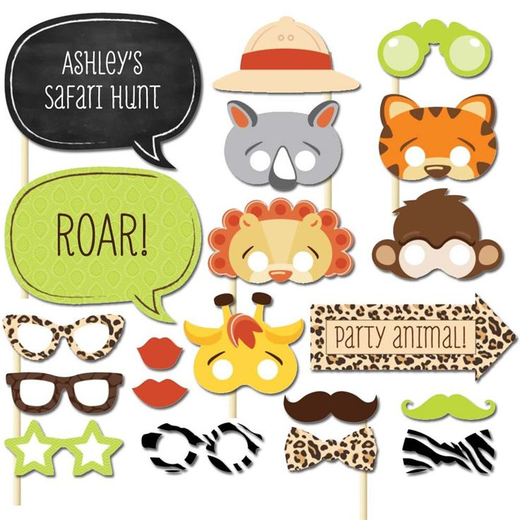 20 pcs/lot Zoo Photo Booth Props Photobooth For Animal Themed Baby Shower Party…