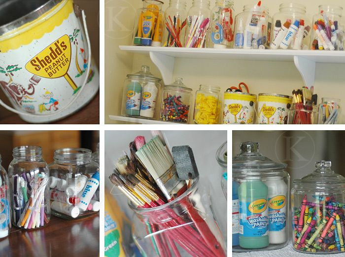 Love the clear glass jars for art supplies