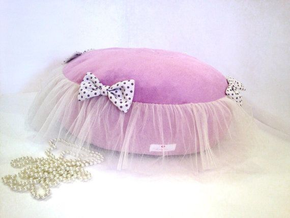 Lilac dog pad with tulle and bows Ballerina pet by AnnaHappydog