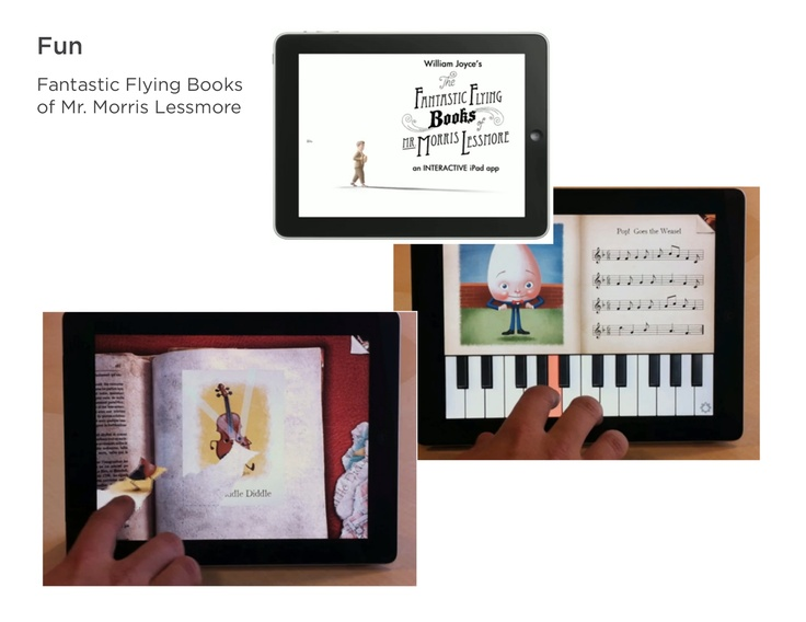 """Theme: Unexpected & Playful. The Fabulous Flying Books of Mr. Morris Lessmore - iPad app. Discover and learn """"new things""""."""