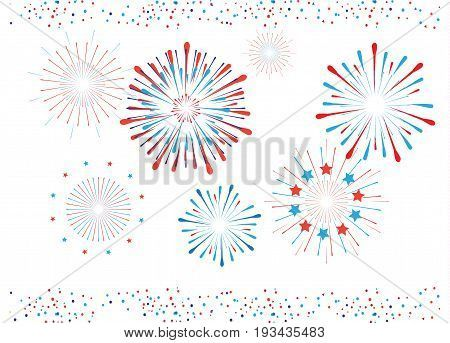Fireworks, stars, confetti, icons set in national American flag colors. Vector isolated on white background. For celebration American Holiday, Memorial day, Labor Day. Festival