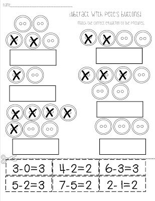 Pete the Cat Activities: FREE Subtract with Pete the Cat worksheet.  This button worksheet is great for the story Pete the Cat and His 4 Groovy Buttons.