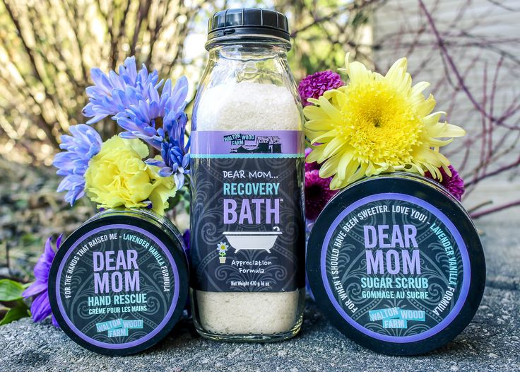 For all the stress I've caused you… Improve mom's sense of well-being and soothe skin. Terrific as a body scrub, foot soak and in vaporizers, too! Dear Mom Formula. #WomenSmellPretty #WaltonWoodFarm #UniqueGifts #MothersDayGift #HandRescue #BathSalts #SugarScrub