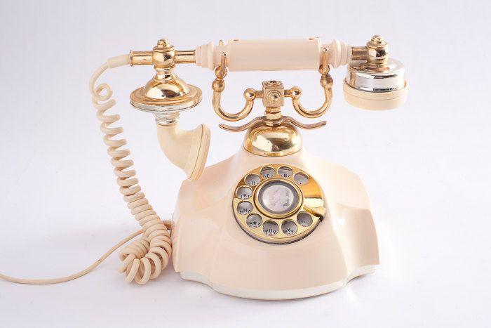 Vintage Rotary Phone - Cream, Glam, Shabby Chic, Victorian. $48.00, via Etsy.
