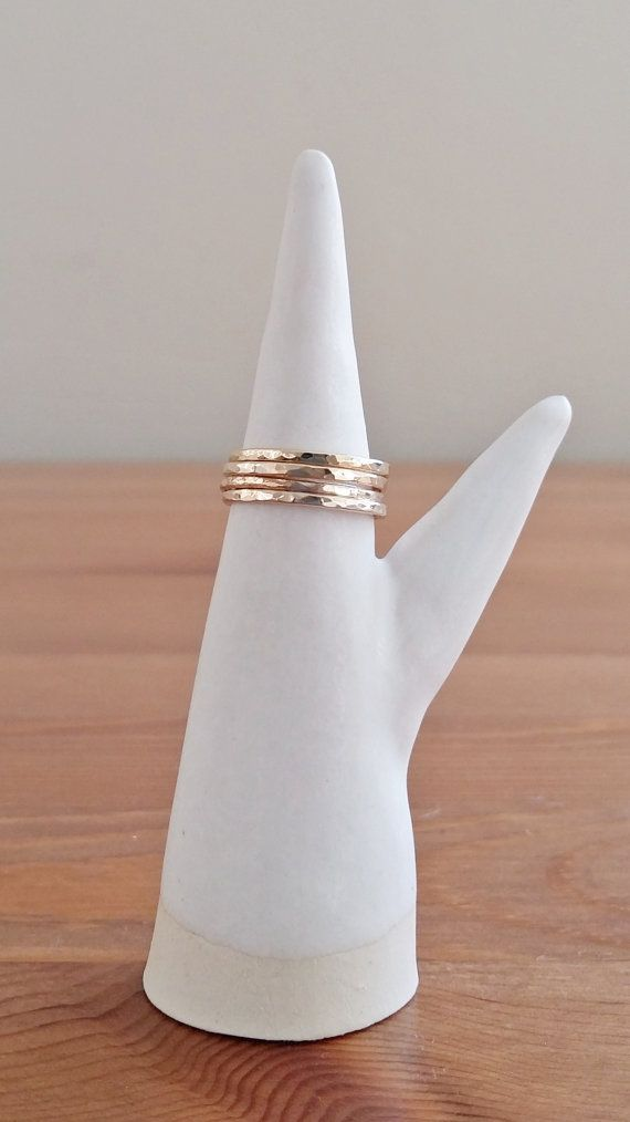 14K Yellow Gold Filled Simple Skinny Hammered by ShopNepheliad on Etsy