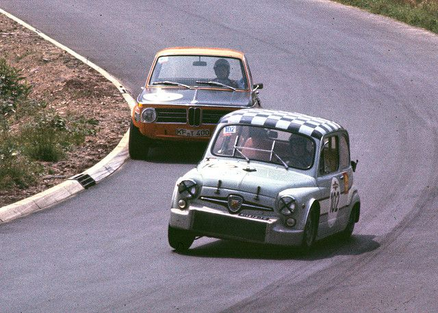 Fiat-Abarth 1000 TCR chased by an Alpina-BMW at the Touring Car Grand Prix 1969 – one nice thing about the cars in the old days is, that you can see the speed by the incline of their bodies.