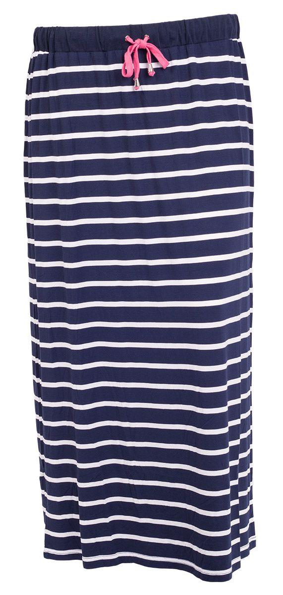 Mega fede Lang Marineblå Nederdel med Smalle Hvide Striber Veto Modetøj til Damer i fantastisk kvalitet