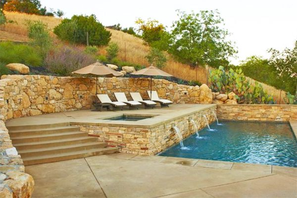 25 best ideas about pool retaining wall on pinterest for Pool design for sloped yard