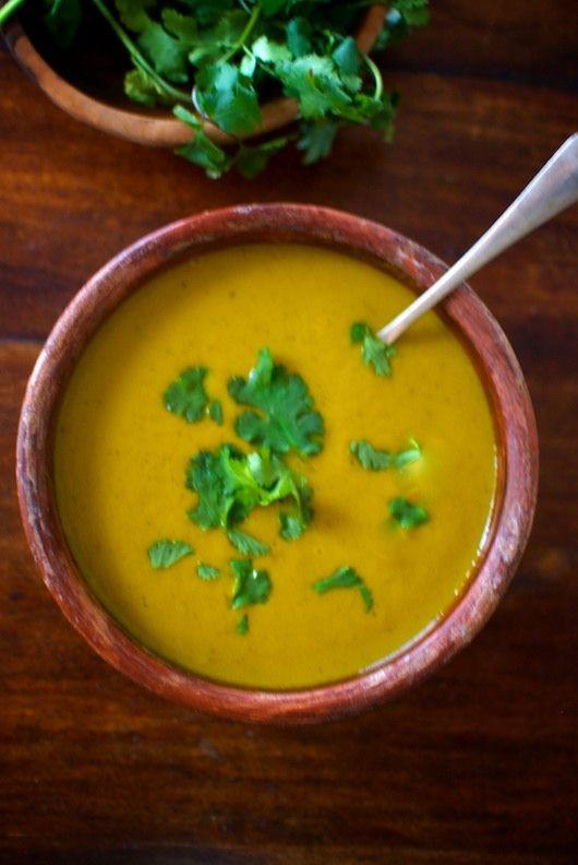 Sopa Zanahoria y Cilantro, receta de la India.
