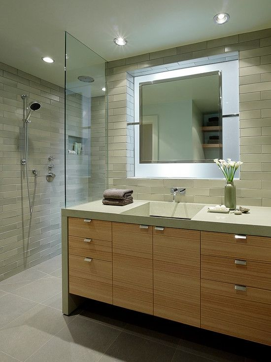 bathroom design contemporary bathroom mirrors ideas with modern vanity design also modern sink and faucet also gray bricks wall accent also
