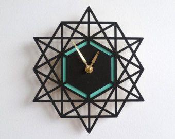 Large Modern Geometric Clock Modern Wall Clock by OwlandOtter