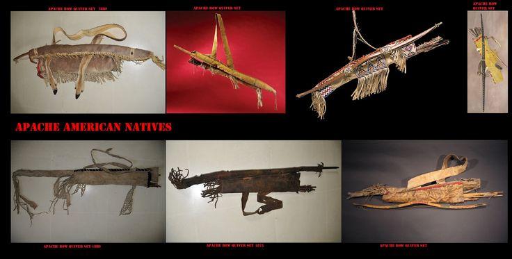 Archi con custodie e faretre Apache. Prima dell'introduzione delle armi da fuoco, l'arco per l'uomo Apache era l'arma preferita, indispensabile, nella caccia e nel combattimento. Era di fattura molto accurata, piuttosto corto e rinforzato con tendini, veniva portato e custodito in un'apposita custodia appesa alla faretra.