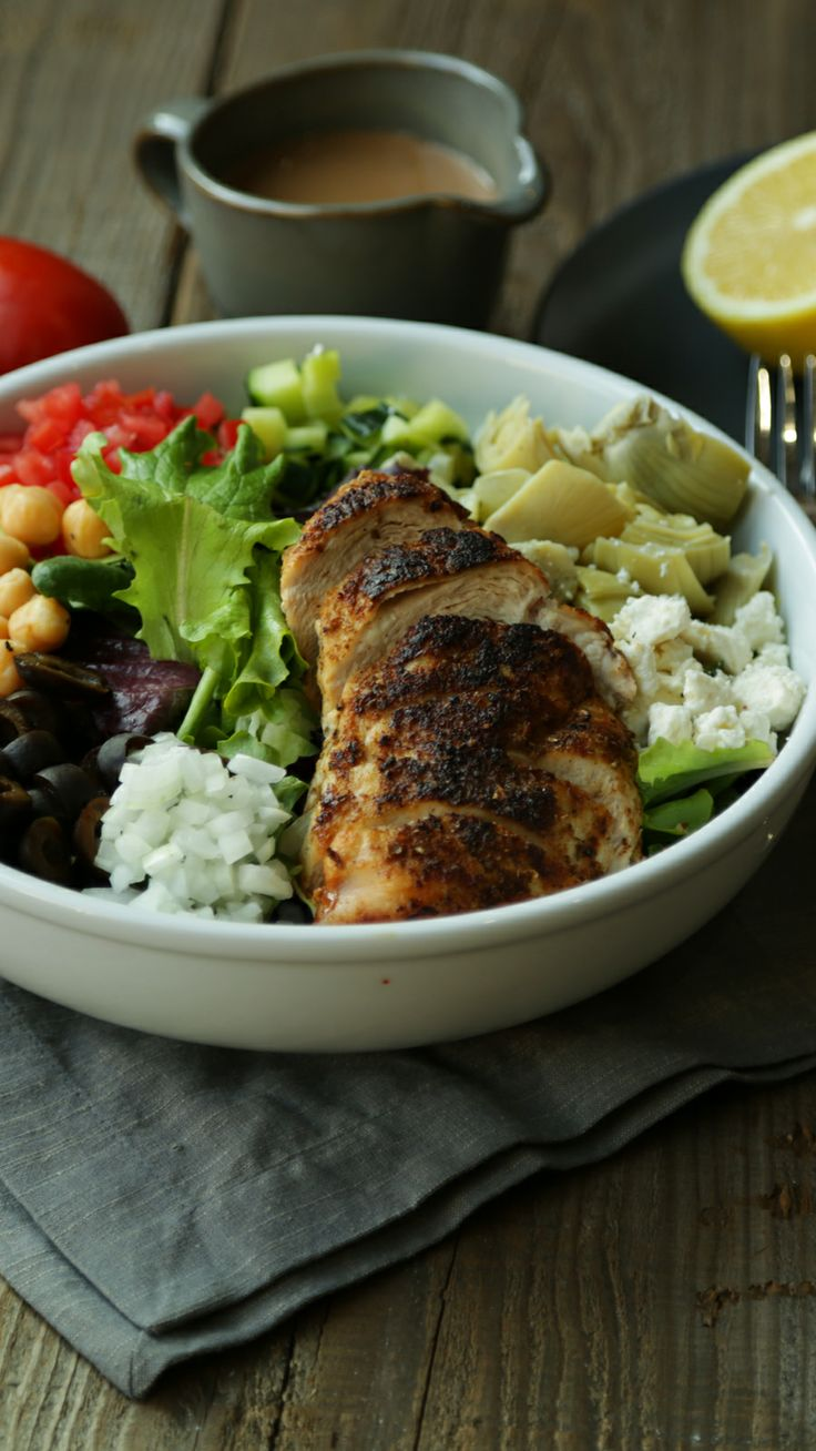 Easy Greek Salad Recipe with Roasted Chicken