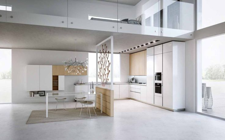 White Interior Concept Modern Kitchen Design. I love how the wall segment and lighting go well together.