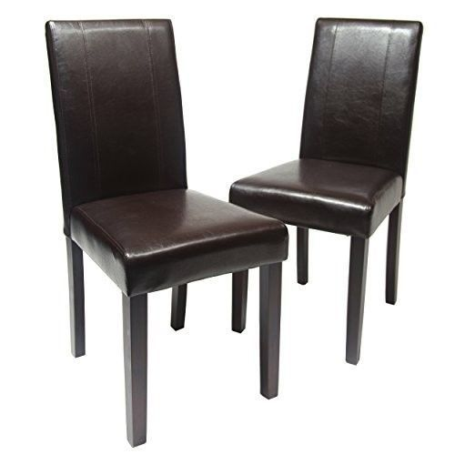 Dining Room Chairs Set of 2 Solid Wood Leatherette Home Indoor Furniture Brown #Roundhill #DiningRoomChairsSetof2