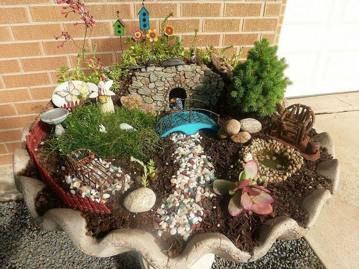birdbath fairy troll garden fairy gardens pinterest