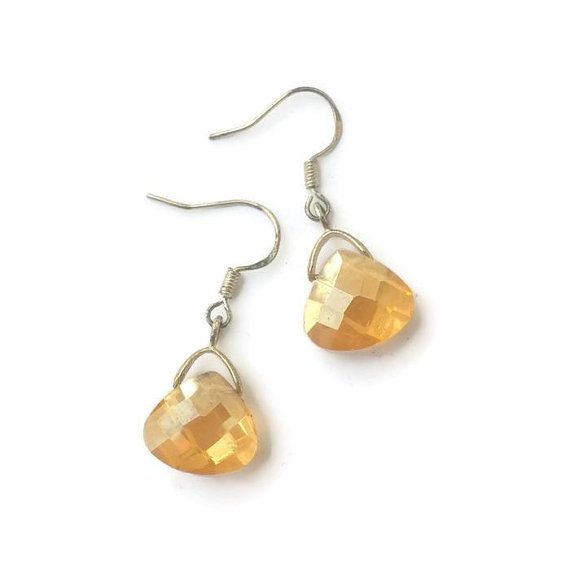 Golden Yellow AB Crystal Teardrop Earrings / by CrystalCreekCrafts