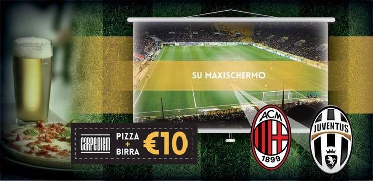 MILAN - JUVENTUS SU MAXISCHERMO La Serie A, tanti amici e pizza+birra a € 10. La partita si giocherà SABATO 22 alle 20:45. È gradita la prenotazione allo