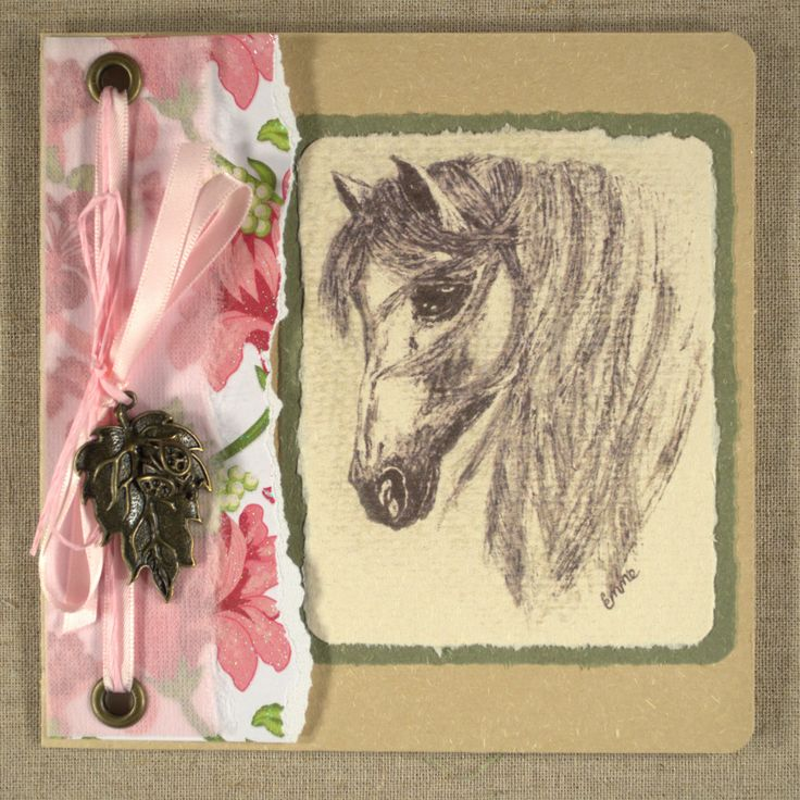 Horse Friendship Card for Girls. Ladybird on leaf charm. Pink floral hand torn paper, recycled card, pink satin ribbon, drawing. OOAK.