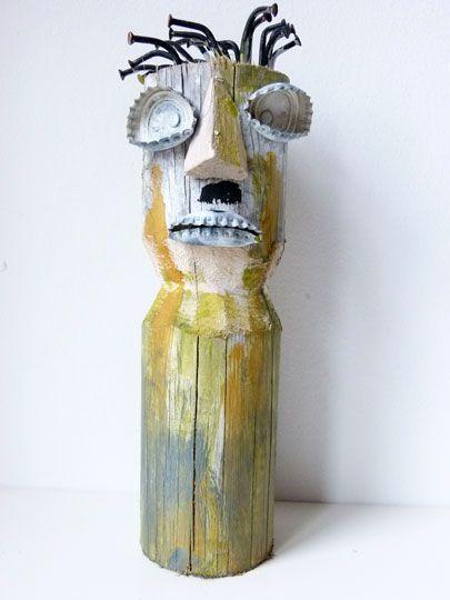 Holzskulptur Masken Figur, rund IB 1413 Ø/h 7 x 23 cm  Hersteller Vorstadtkunst