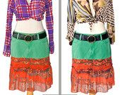 Knee length boho skirt green red hippy style ruffle skirt trumpet size M L Gap jeans one of a kind recycled altered couture sexy original