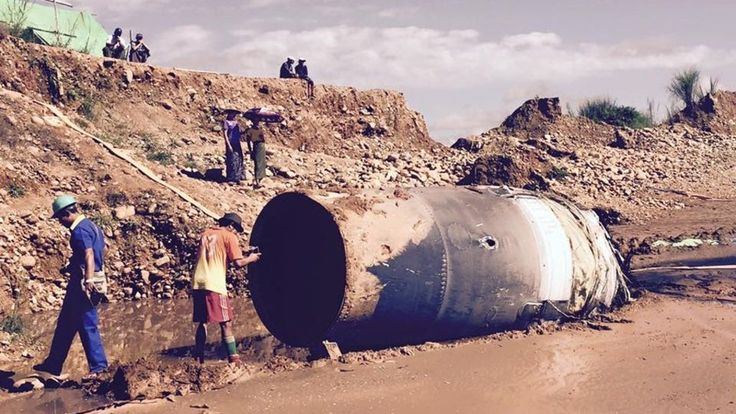 11/11/2016 - A metal cylinder, possibly from a Chinese satellite launch, falls on to a mine in Myanmar, media say.