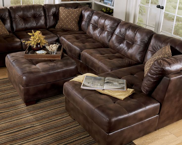 Largo Contemporary Brown Microfiber Large Sofa Couch Sectional Set Living Room Like The Chaise At One End