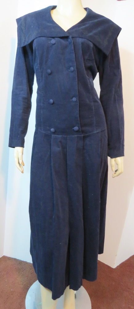 Vtg LAURA ASHLEY Navy Embroidered Corduroy Pleated Sailor Dress Great Britain 14 #LauraAshley #Tunic #Casual #SailorDress #England