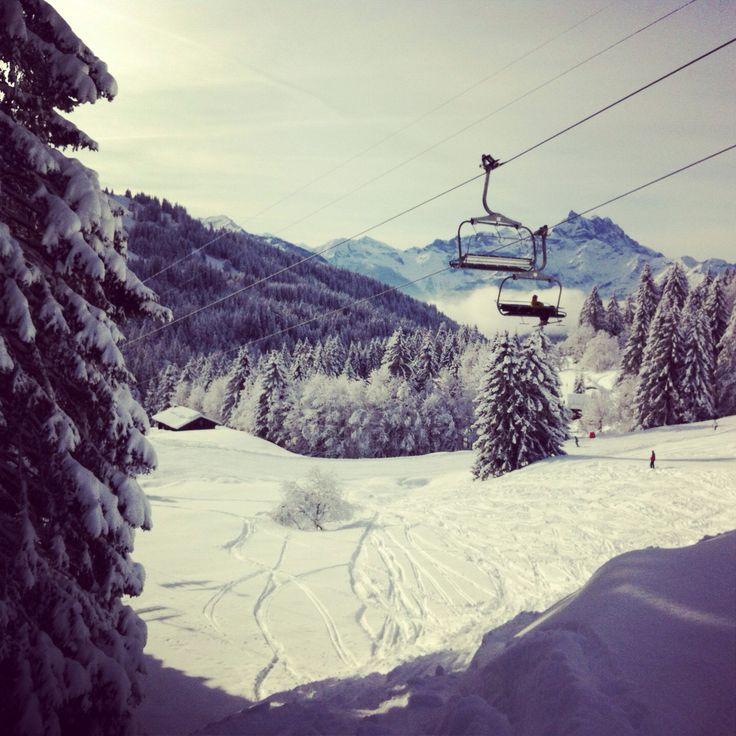 Snowboarding in Villars, Switzerland