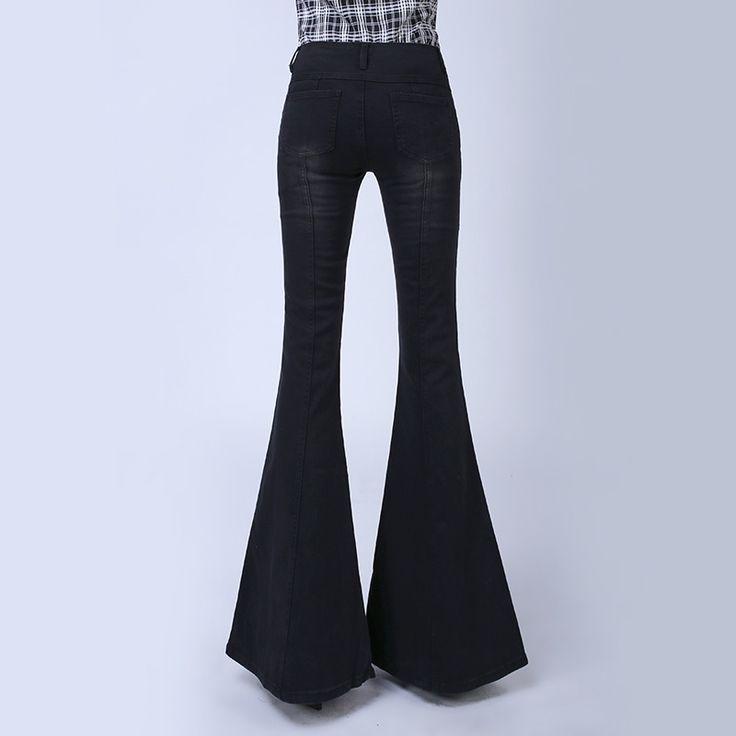 Южная корея леди черный высокая талия кнопки упругие большие рога джинсы женский загрузки вырезать стройную ногу большой расклешенные джинсы однобортный брюки купить на AliExpress