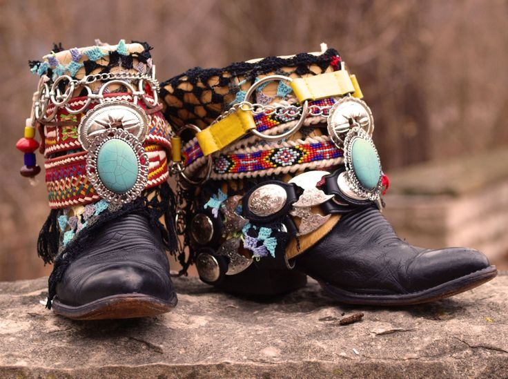 I am absolutely going to DIY these gorgeous Boho gypsy boots... first I need to get my hands on a pair of ankle cowboy boots.... or just use my shabby old faux suede ones...