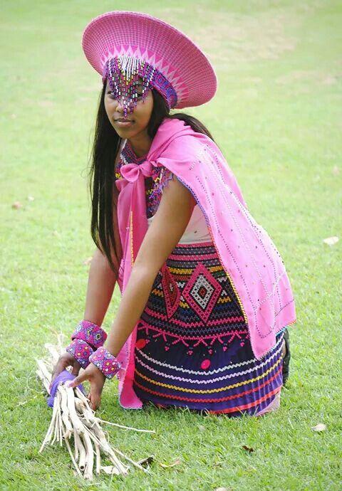 Zulu traditional attire in Pink