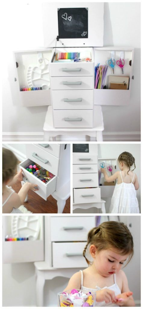 Jewelry Box Makeover - Perfect furniture piece for a girl's bedroom or playroom. LOVE the pastels and farmhouse style :) #fusionpaint