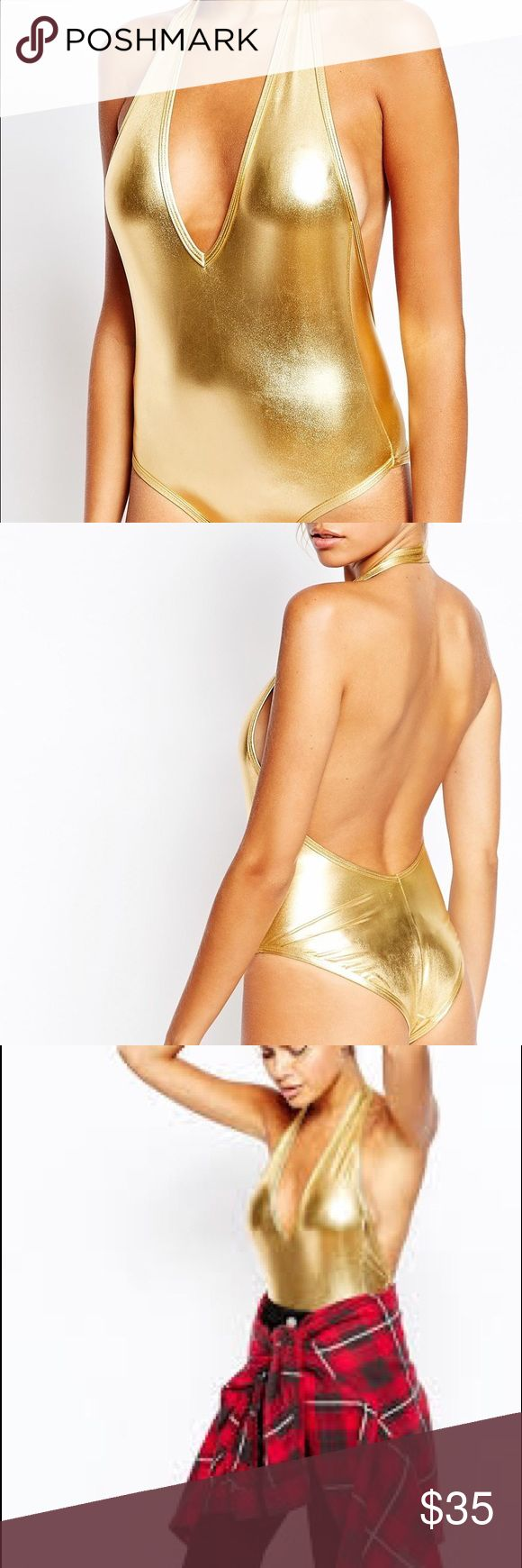American Apparel Sexy Plunge Neck Backless Leotard American Apparel Sexy…