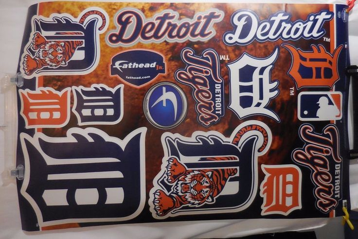 Detroit Tigers MLB Team Logo Assortment Fathead Jr. 3'x2 Vinyl Wall Decal  #Fathead #DetroitTigers