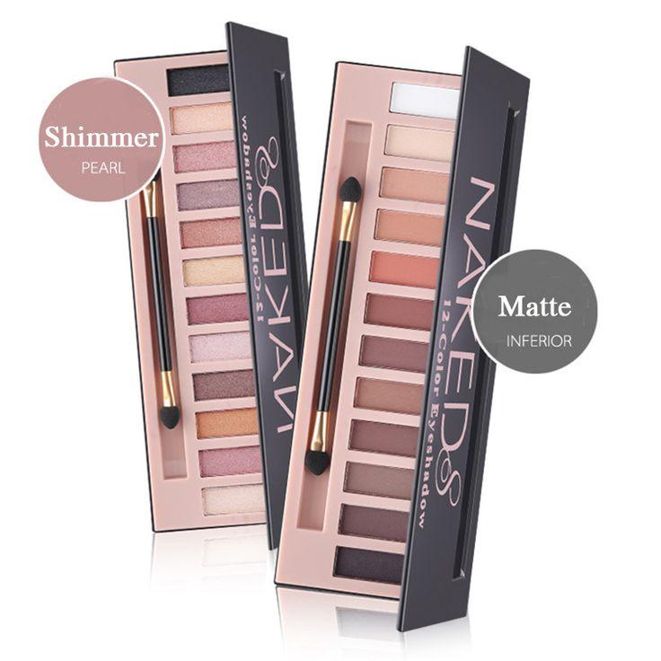 Pro de 12 colores brillo o mate sombra de ojos maquillaje paleta de sombra de ojos de larga duración natural de sombra de ojos naked cosméticos con cepillo