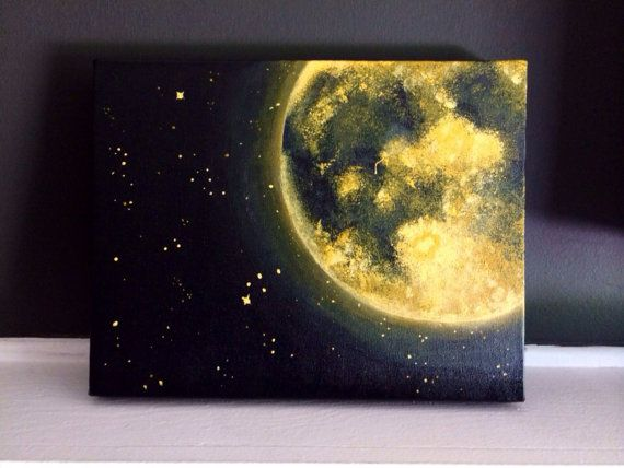 Orange Moon and Stars Acrylic Painting 11×14 inches • Home Accents • Cosmic Home Decor • golden yellow orange moon • Made to Order