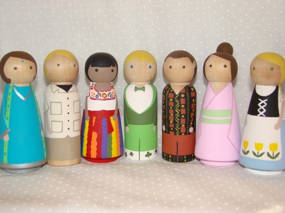 Small World Children - Custom Hand Painted Wood Peg Dolls