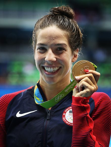#RIO2016 Maya Dirado of United States poses with her Gold medal after winning the women's 200m Backstroke on Day 7 of the Rio 2016 Olympic Games at the...