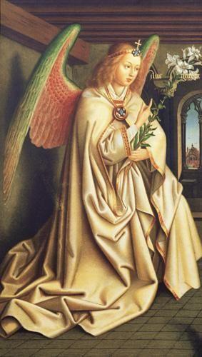 Angel of the Annunciation: Victorian watercolour painting by the artist Hubert Jan Van Eyck (C1400).