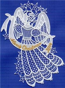 2014 Free Standing Lace machine embroidery design Lace Angel. Comes in three sizes.