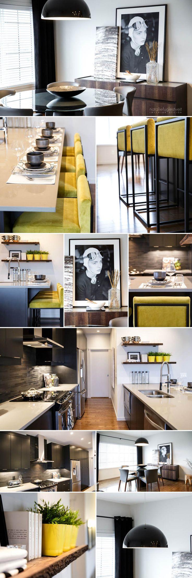 Rustic Modern Kitchen & Dining Rm by Calgary Interior Designer