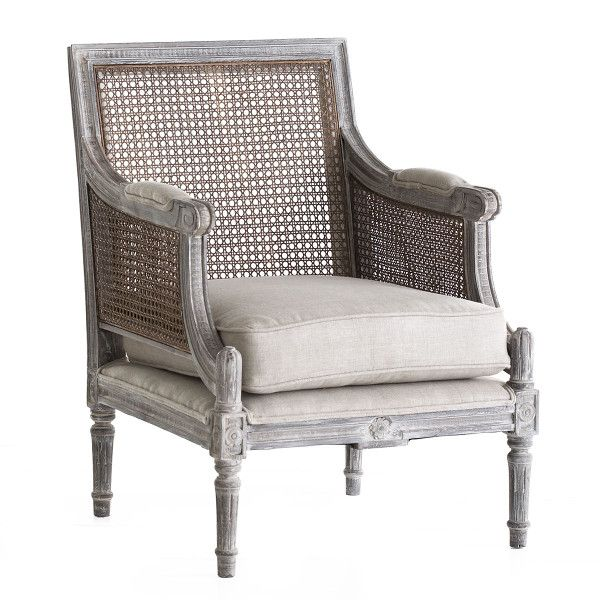 Linen and Cane-Back Chair