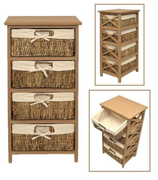 Cómoda estilo rústico, para baño, pasillo, aparador en estilo rústico, de color marrón, con 4 cestas en ratán: Amazon.es: Hogar